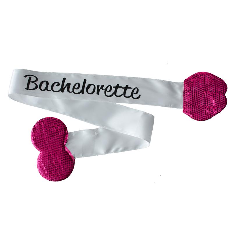 Bachelorette Plush Pecker Sash-White